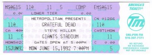 Grateful Dead Concert Ticket