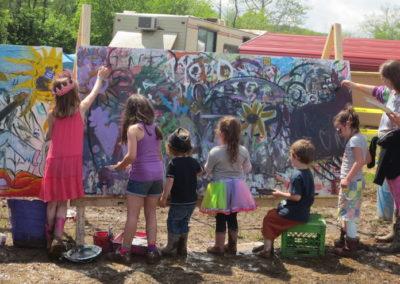 Painting kids at Sleepy Creek