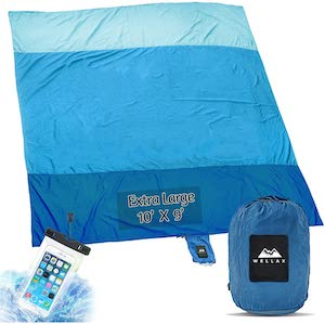 Waterproof Beach Blanket Tarp with stakes and pockets