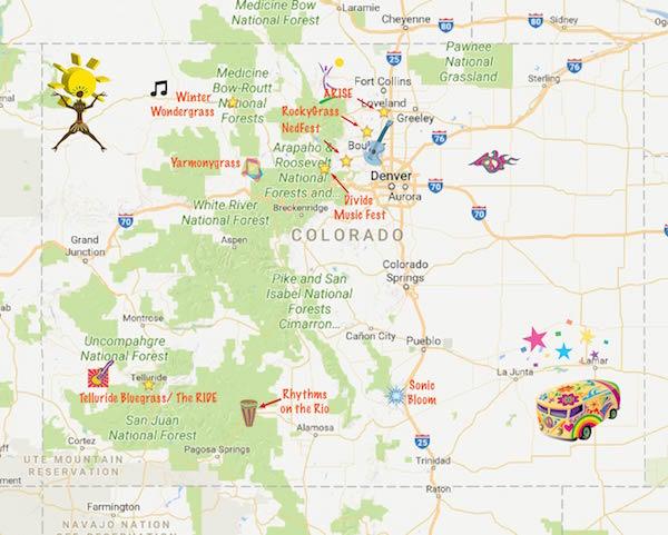 Colorado Music Festival Adventure - map of Colorado Festivals