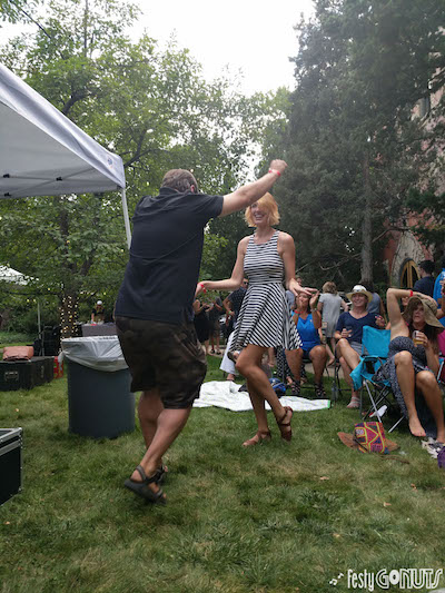 Attendees danced in lawn chairs at Grapes and Grass in Boulder Colorado.