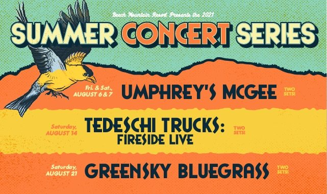 Beech Mountain Resort Summer Concert Series Lineup 2021